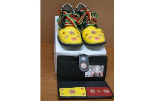 Kalvin Klown Shoes with Matching Klutch, Diane Di Bernardino Sanborn, mixed media.