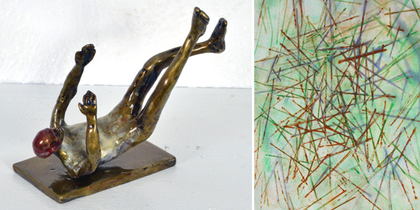 Sculpture: Falling Man #2 by John Tuomisto-Bell. Painting: Sweepwalk #2 by Jerry Jacobson